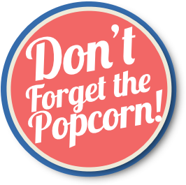 Round button banner for Popcorn Machine Rentals
