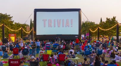 Trivia Banner on Outdoor Movie Screen Rental