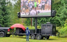 FunFlicks LED Screen showing football NFL