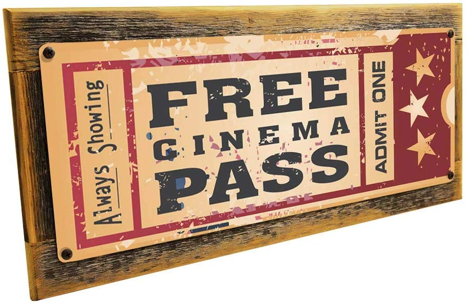 outdoor movie ticket sign