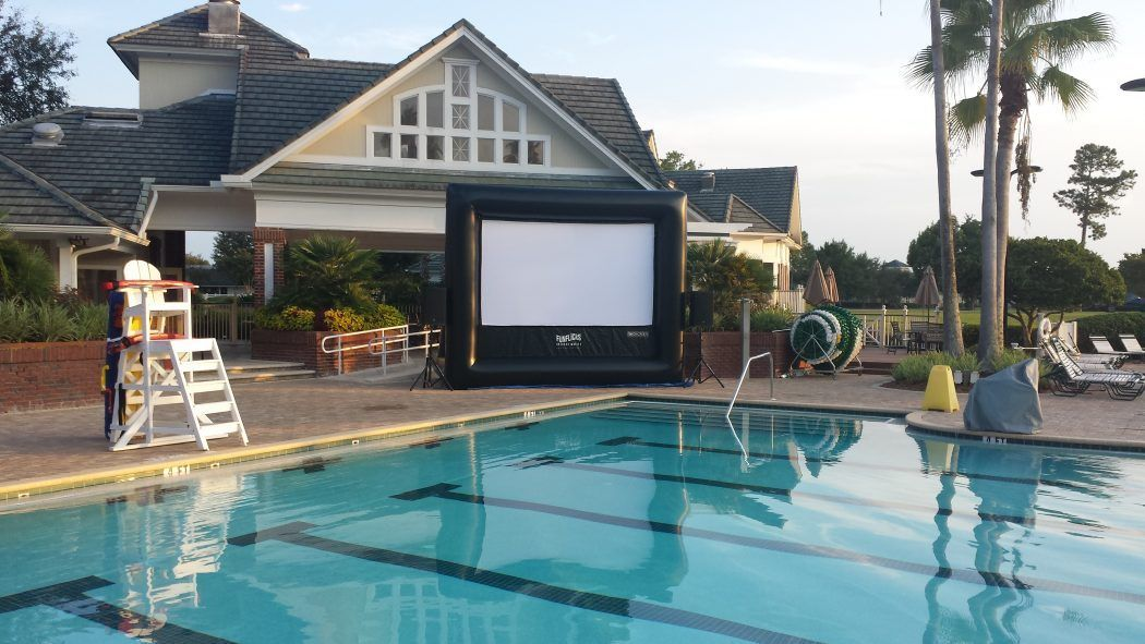 Country Club event ideas start with a poolside outdoor movie night with FunFlicks®