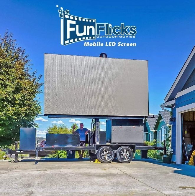 LED wall screen rental service for sporting events and movies anywhere in the USA using FunFlicks portable LED screens