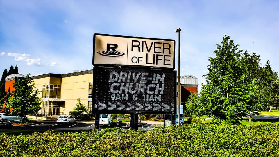 Church drive in movie sign at the fellowship advertising family fun night by FunFlicks®